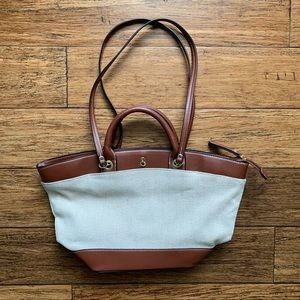 London Fog Bags - Brown and Off White Mixed Material Tote Bag